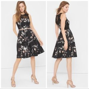 •WHBM• Floral Print Sleeveless Fit & Flare Dress